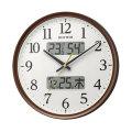 壁掛け時計 温度湿度 カレンダー付 電波時計 8FYA03SR06 文字入れ対応、有料 取り寄せ品