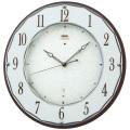 壁掛け時計 セイコー SEIKO 電波時計 暗くなると秒針を止め 音がしない 掛時計 木製 連続秒針 おしゃれ エンブレム HS524B 文字入れ対応、有料 送料無料