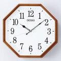 セイコー SEIKO 暗くなると秒針を止め 音がしない 壁掛け時計 茶木地 KX263B 電波時計 文字入れ対応、有料 取り寄せ品