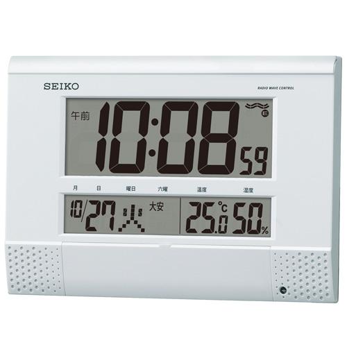 チャイム メロディを任意の時刻にセット SQ435W セイコー SEIKO 温度湿度表示つき置き掛け兼用デジタル電波時計 文字入れ不可 取り寄せ品