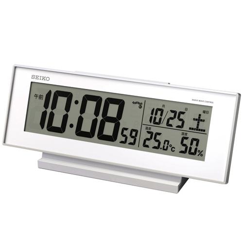セイコー クロック 目覚まし時計 常時点灯 電波 デジタル 白 SQ762W SEIKO
