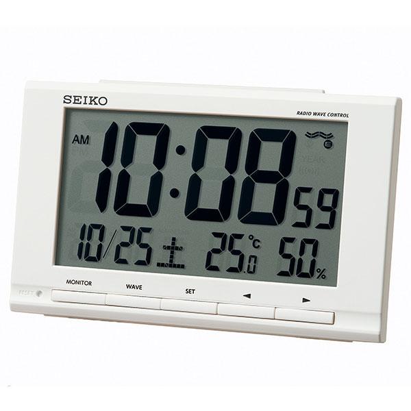 セイコー SEIKO 温度湿度表示付 置き時計 電波目覚まし時計 デジタル SQ789W 名入れ文字書き、有料