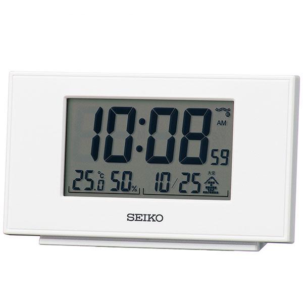 セイコー SEIKO 温度湿度表示付 置き時計 電波目覚まし時計 デジタル SQ790W 名入れ文字書き、有料
