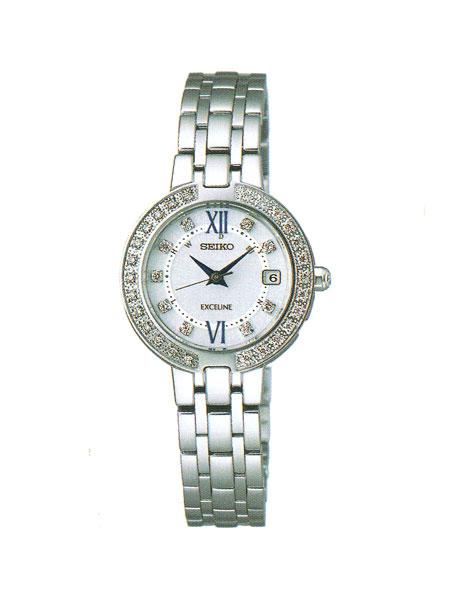セイコー エクセリーヌ SWCW083 電波ソーラー 腕時計 レディース SEIKO EXCELINE 刻印対応、有料 取り寄せ品