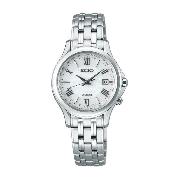 セイコー ソーラー電波時計 SWCW161 エクセリーヌ 女性用腕時計 SEIKO EXCELINE 刻印対応、有料 取り寄せ品