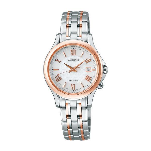 セイコー ソーラー電波時計 SWCW162 エクセリーヌ 女性用腕時計 SEIKO EXCELINE 刻印対応、有料 取り寄せ品