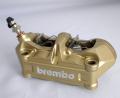 QTM Brembo キャスト4パッド ラジアルキャリパー パッド付 CNC加工済 ゴールド