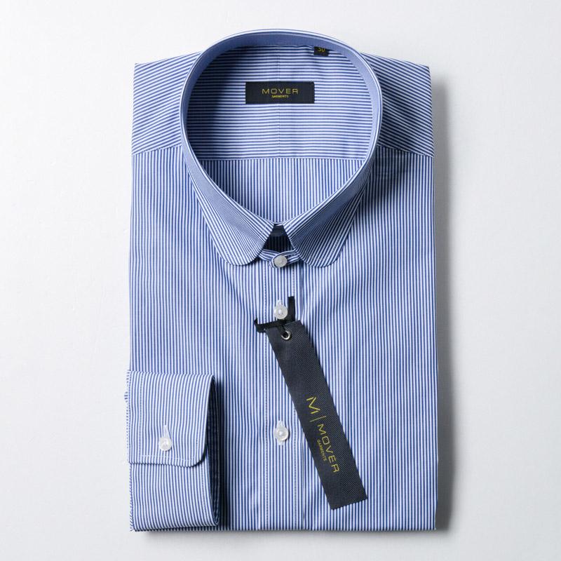 ラウンドタブカラーシャツブルーピンストライプ