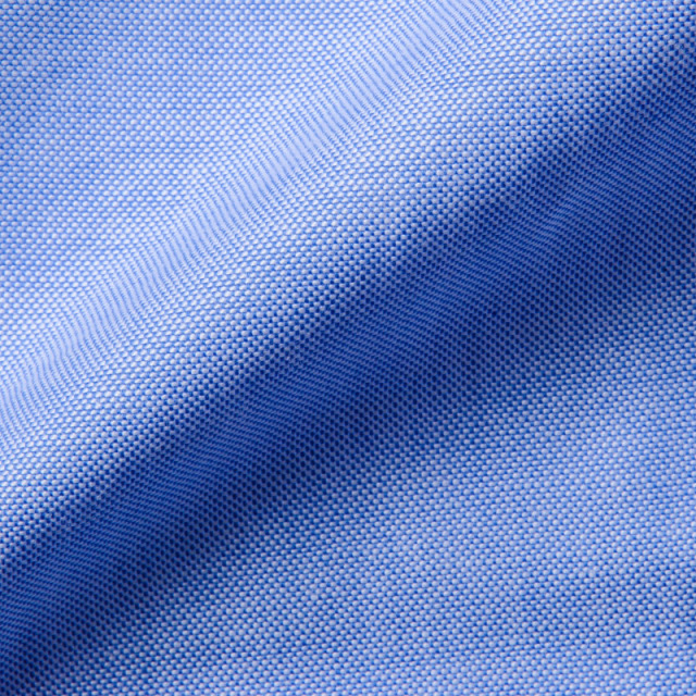 ラウンドタブカラーシャツブルーオックス