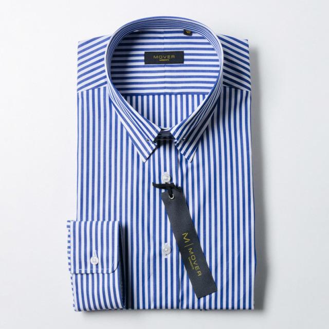 ピンホールカラーシャツネイビーロンドンストライプ