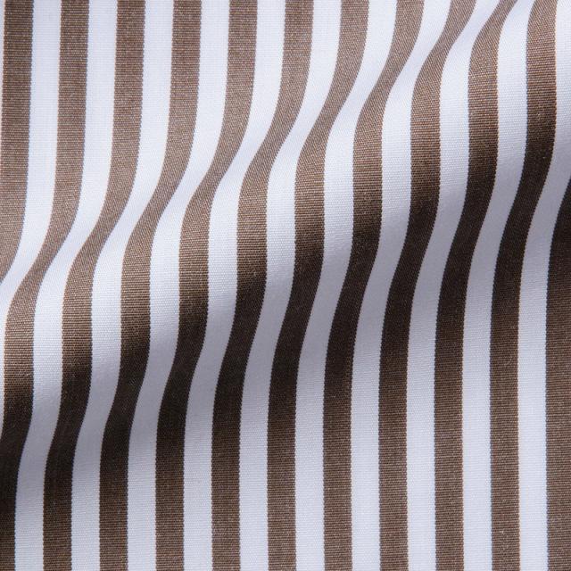 ピンホールカラーシャツブラウンロンドンストライプ