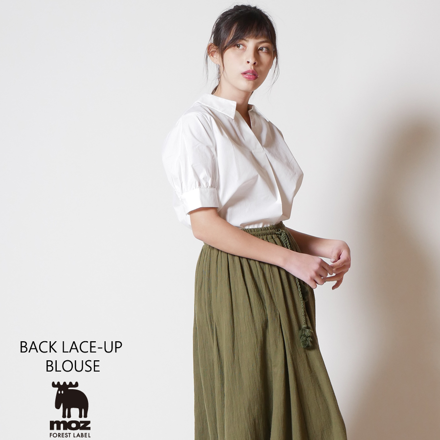moz FOREST LABEL  バックレースアップブラウス◆