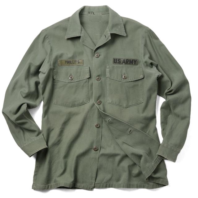 実物 米軍 OG-107 コットンサテン ユーティリティーシャツ シャツ袖 USED