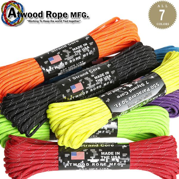 ATWOOD ROPE MFG. 7Strand 550 パラコード 50FT REFLECTIVE
