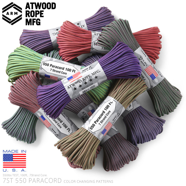 ATWOOD ROPE MFG. アトウッド・ロープ 7Strand 550Lbs パラコード 100フィート COLOR CHANGING PATTERNS MADE IN USA