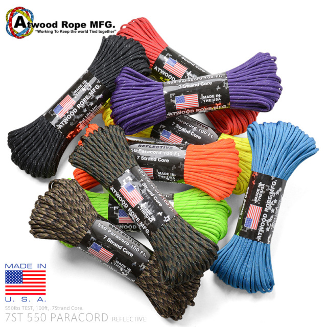 ATWOOD ROPE MFG. 7Strand 550Lbs パラコード 100FT REFLECTIVE