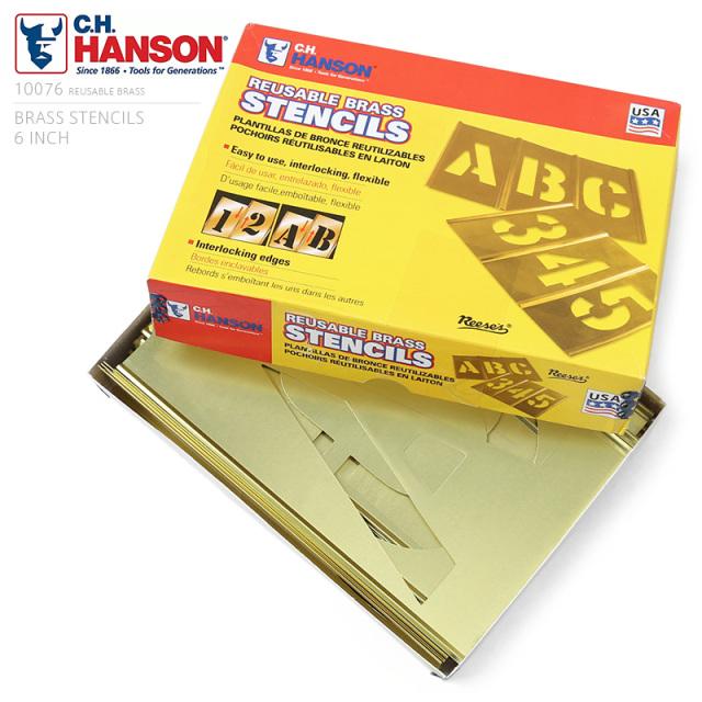 C.H.HANSON C.H.ハンソン 真鍮製 ブラス ステンシルプレート【6インチ】46ピース 英数字セット
