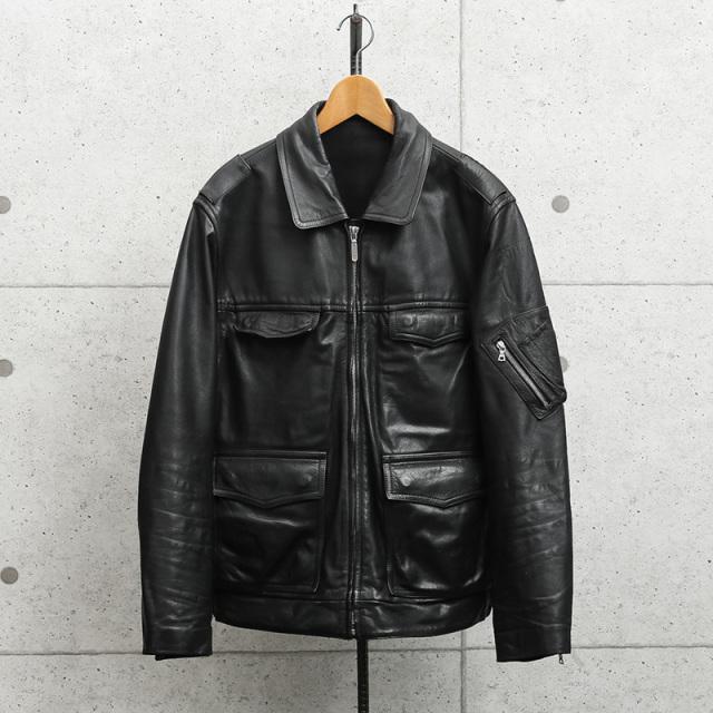 実物 USED ドイツ警察 ブラック レザージャケット リフレクターバックロゴ