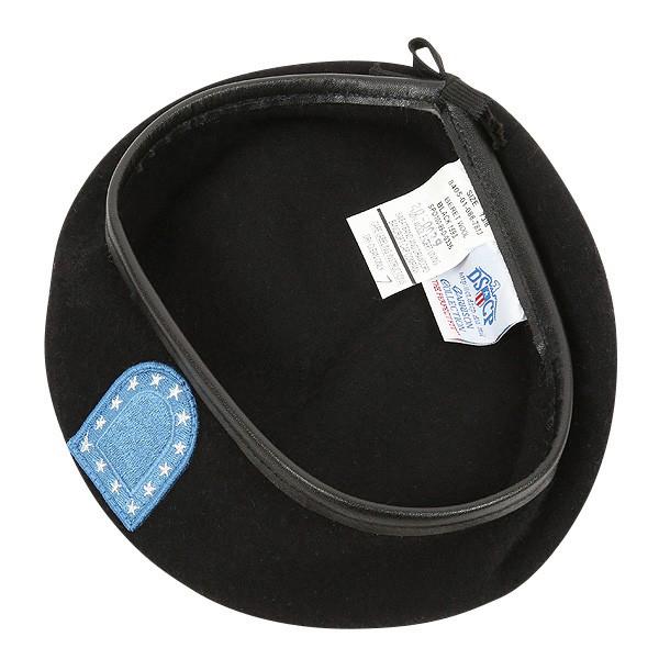 実物 新品 米陸軍ブラックベレー帽 フラッシュ付