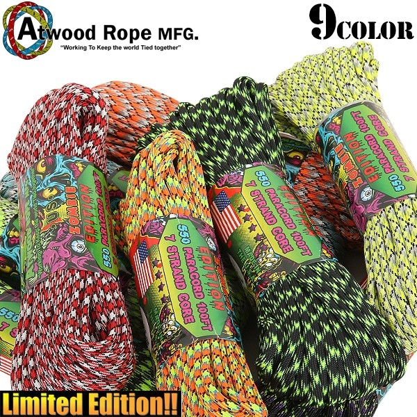 ATWOOD ROPE MFG. 7Strand 550 パラコード 100FT ZOMBIE EDITION