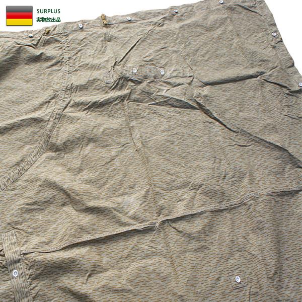 実物 東ドイツ NVA テントシェル レインドロップカモ テントシート USED パップテント