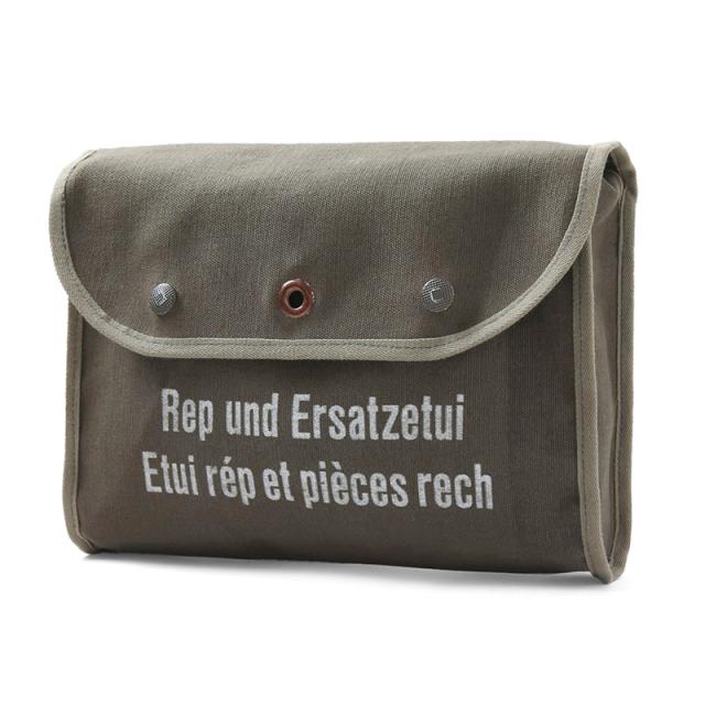 実物 USED スイス軍 1980年代 キャンバスクラッチバッグ OLIVE