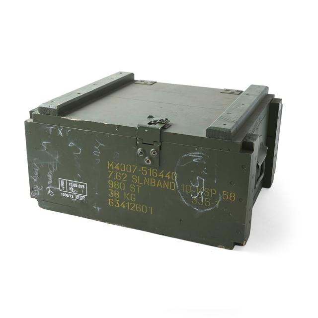 実物 USED スウェーデン軍 アミニッション ウッドボックス メタルハンドル