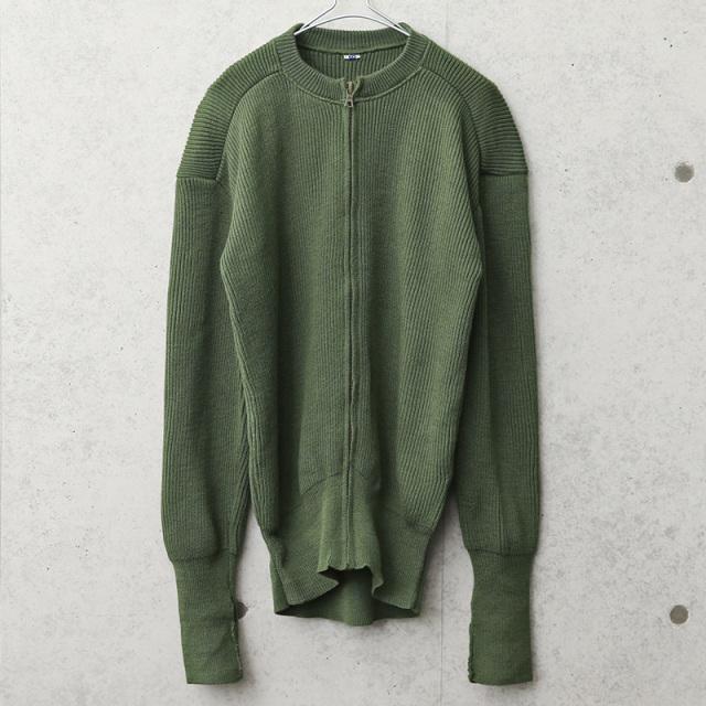 実物 USED スウェーデン軍 ジップアップ ウールセーター