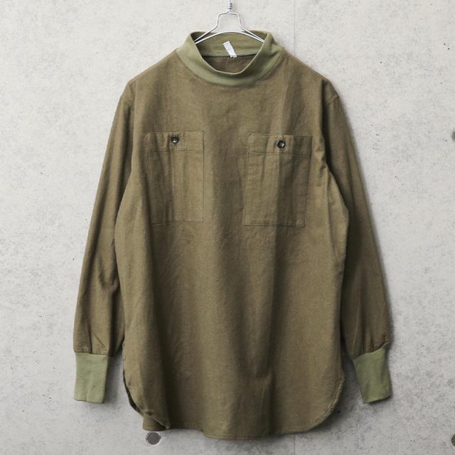 実物 USED ハンガリー軍 フランネル プルオーバー モックネックシャツ ラウンドタイプ