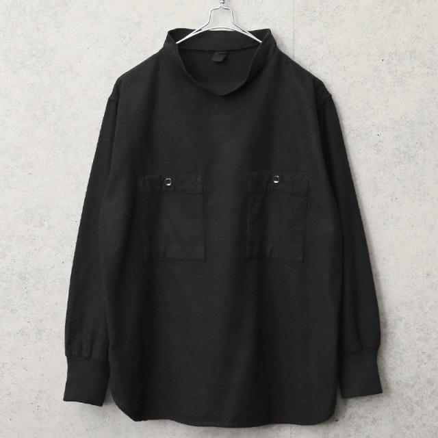 実物 USED ハンガリー軍 フランネル プルオーバー モックネックシャツ ラウンドタイプ BLACK染め