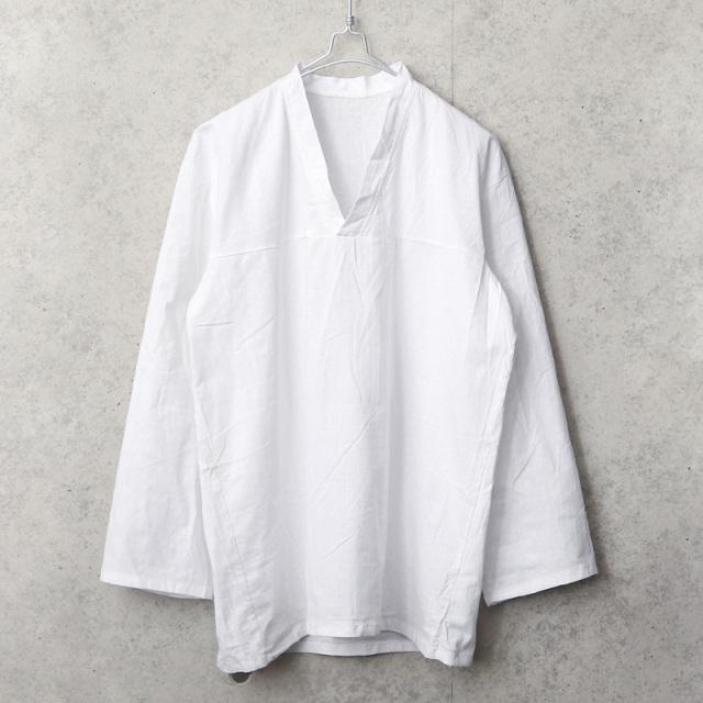 実物 新品 デッドストック ロシア軍 80s ヨーク切り替え Vネック スリーピングシャツ ホワイト