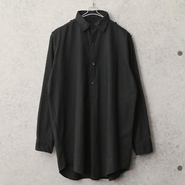 実物 新品 デッドストック チェコ軍 1960's プルオーバー グランパシャツ BLACK染め
