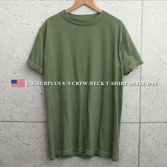 実物 新品 米軍 クルーネック 半袖Tシャツ OLIVE染め MADE IN USA