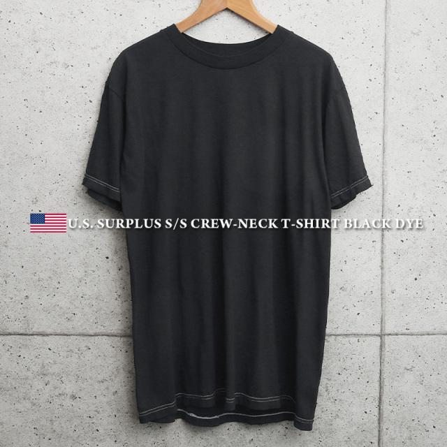 実物 新品 米軍 クルーネック 半袖Tシャツ BLACK染め MADE IN USA