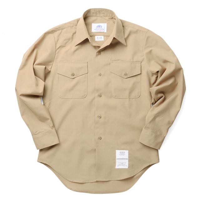 実物 新品 米軍 DSCP 長袖 サービスドレスシャツ KHAKI(SHIRT, MAN'S, LONG SLEEVE)