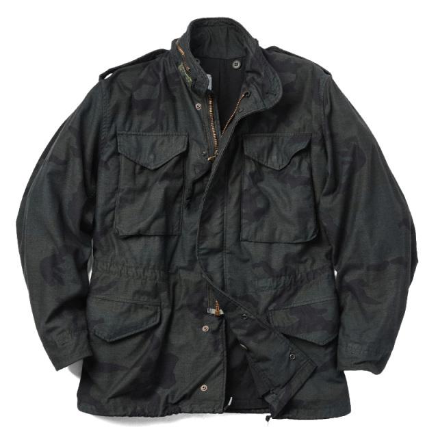 実物 米軍G.I. M-65 フィールドジャケット WOODLANDベース BLACK染め