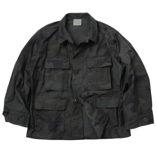 実物 新品 米軍 BDU WOODLAND CAMO ジャケット BLACK染め