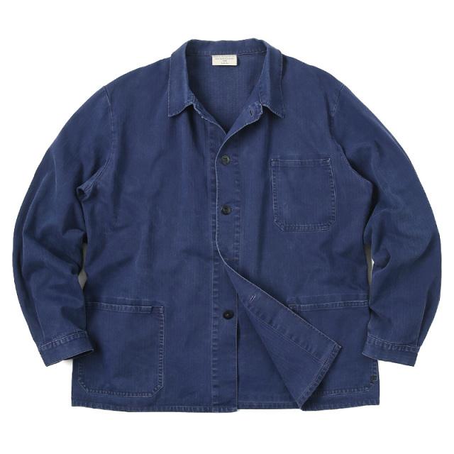 実物 USED ドイツ軍 ヘリンボーンツイル ブルーワークジャケット