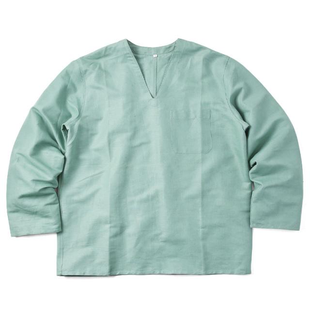 実物 新品 ハンガリー軍 リネン Vネックスリーピングシャツ グリーン