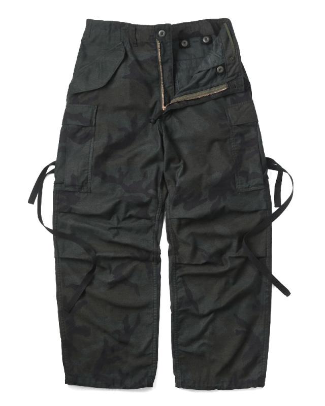 実物 新品 米軍 M-65フィールドカーゴパンツ ウッドランド迷彩 BLACK染め