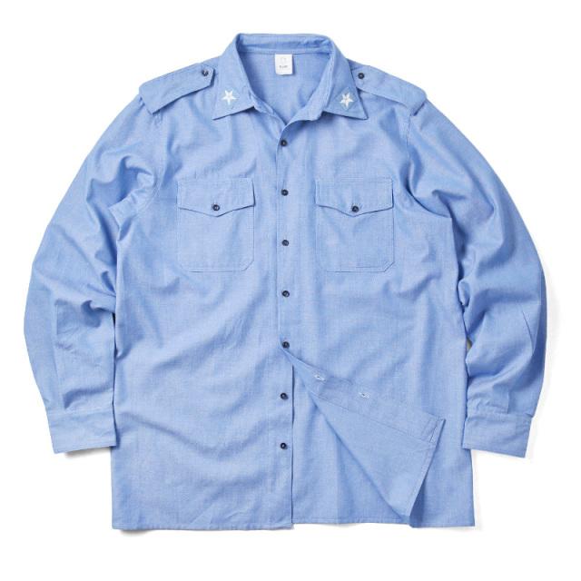 実物 新品 イタリア軍 シャンブレーワークシャツ