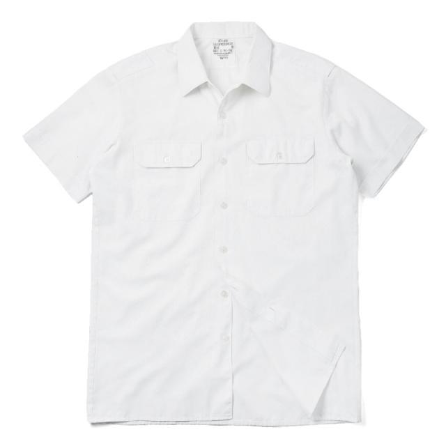 実物 USED ドイツ軍 ホワイト サービスシャツ 半袖 ミリタリー 軍放出品
