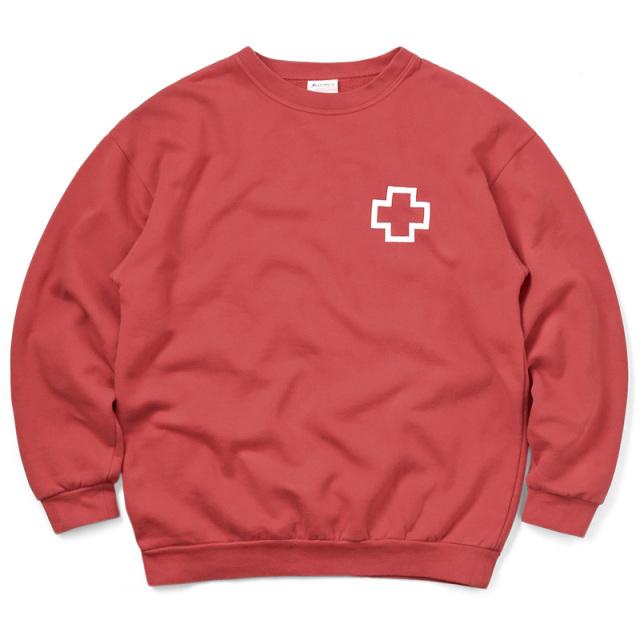 実物 USED スペイン赤十字 レッドクロス スウェットシャツ バックプリント