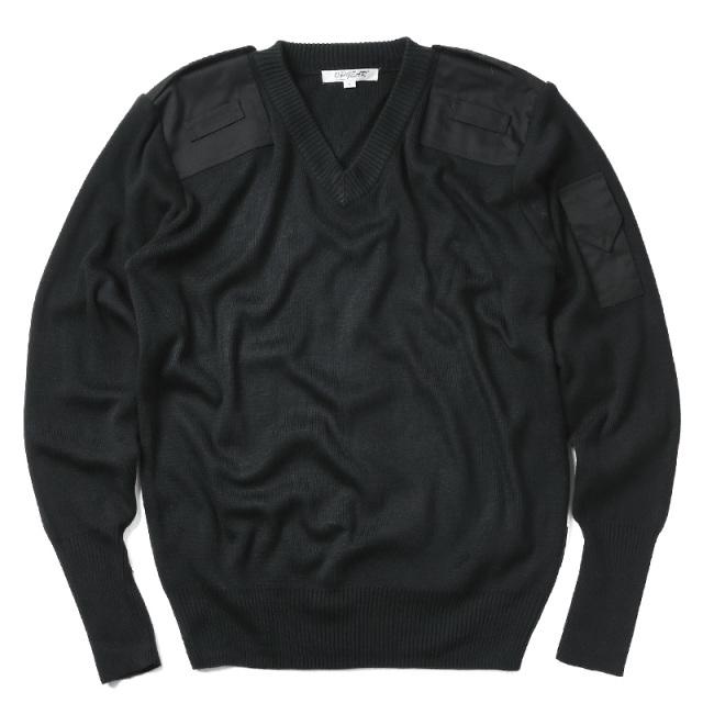 実物 新品 イギリス HMプリズンサービス Vネック セーター BLACK