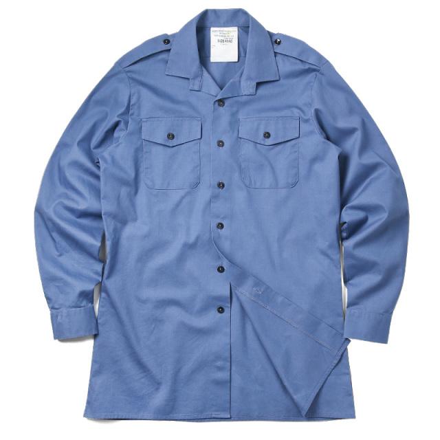 実物 USED イギリス軍 FR ワーキングドレスシャツ BLUE