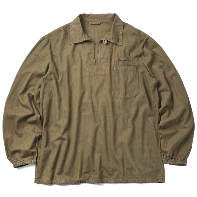 実物 USED チェコ軍 ブラウンヘリンボーン プルオーバーワークシャツ