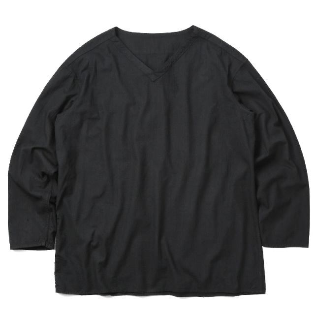 実物 新品 ロシア軍 80s Vネック スリーピングシャツ BLACK染め