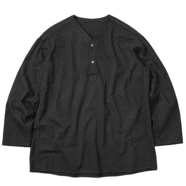 実物 新品 ロシア軍 80s ヘンリーネック スリーピングシャツ BLACK染め