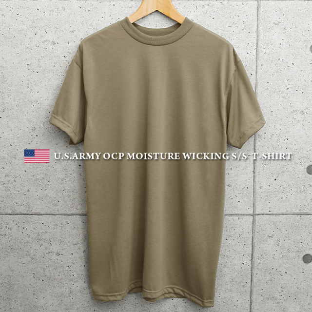 実物 新品 米軍 OCP用 MOISTURE WICKING Tシャツ TAN MADE IN USA