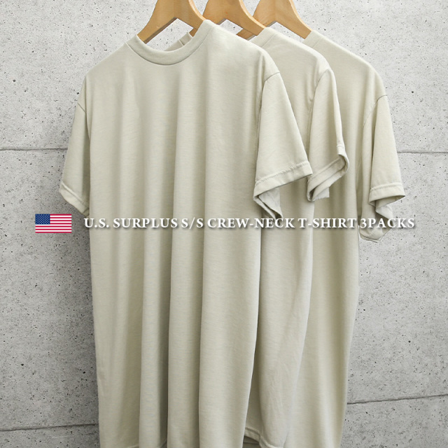実物 新品 米軍 MOISTURE WICKING Tシャツ SAND 3PACS MADE IN USA